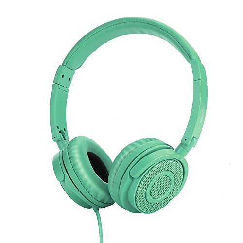 On Ear Headphones, Vogek Lightweight and Foldable On Ear Headphones with 1.5M Tangle-Free Cord and Microphone - Cyan