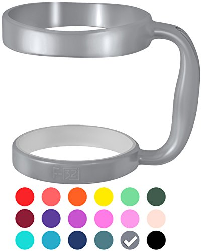 F-32 Handle - 19 COLORS - Available For 30oz or 20oz YETI, RTIC (PREVIOUS DESIGN), OZARK TRAIL, BEAST Rambler & More Tumbler Mug - Black Blue Wine Purple Pink Red & More - BPA FREE (30OZ, ZEN GRAY)]()