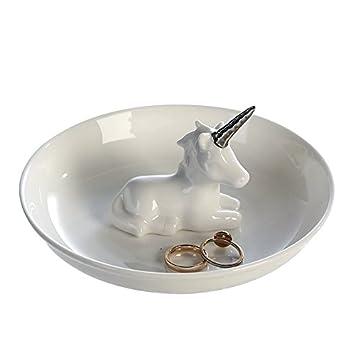 Schmuckschale Einhorn Porzellan Weiss Silber O 15 Cm Schmuck