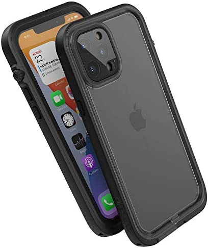 Catalyst 33ft Waterproof Case Designed for iPhone 12 Pro Max - Drop Proof 6.6ft, Clear Back, Compatible with Crux Accessories Cases - Stealth Black