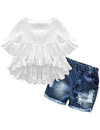 b9747d039 Girl Clothes Little Kids Short Sets Cotton Casual Coat Jeans 2 Pcs Pants  Sets