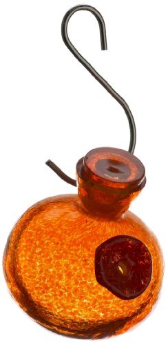 (Kitras One Sip Hummingbird Feeder Glass Ornament, Orange)