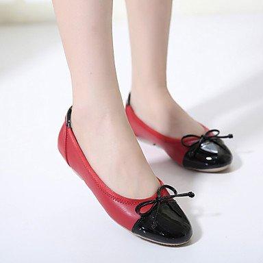 Cómodo y elegante soporte de zapatos de las mujeres pisos comodidad piel sintética Casual negro rojo de almendro negro