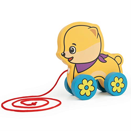 Bimi Boo Push and Pull Toddler Toy Walk-A-Long Puppy - Dog Can Roll Toys for Kids - Wheels for Easy Action, Yellow