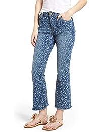 167ec29d9b8d Michael Michael Kors Women's Floral Printed Flare-Leg Jeans, True  Navy/Light Chambray