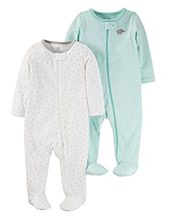 Carter's Just One You 2 Pack Baby Unisex Sleep N' Play Set -Cool Mint (6 Months)