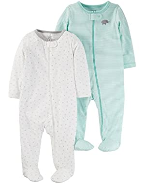 Just One You 2 Pack Baby Unisex Sleep N' Play Set -Cool Mint