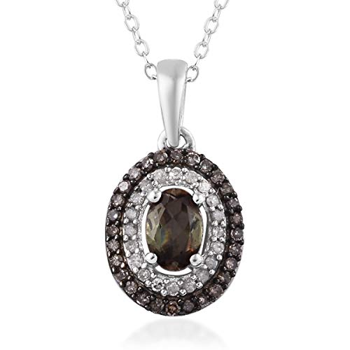 925 Sterling Silver Black Rhodium Plated andalusite Champagne Diamond Pendant Necklace 20