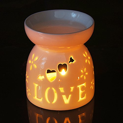 Candles Heart Tealight (Ivenf Ceramic Essential Oil Incense Tart Tealight Candle Burner Diffuser, Holiday   Home Decoration Valentine Christmas Gift, Cutout Love Heart)