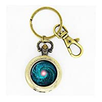 Skyboby Spiral Galaxy pocket watch keychain Outer Space Milky Way Astronomy Nebula Art pocket watch Pendant in Bronze or Silver with Link Chain Included