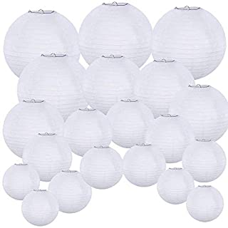"Supla 20 Pack Chinese White Paper LanternHanging Paper Lanterns White Round Paper Lanterns 4"" 6"" 8"" 10"" 12"" White Hanging Lanterns Wedding Party Decorations"