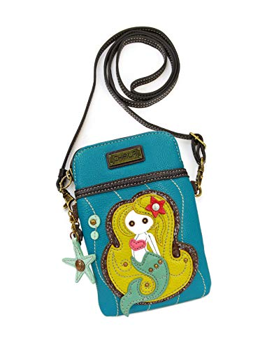 Chala Crossbody Cell Phone Purse - Women PU Leather Multicolor Handbag with Adjustable Strap (Blue Mermaid) ()