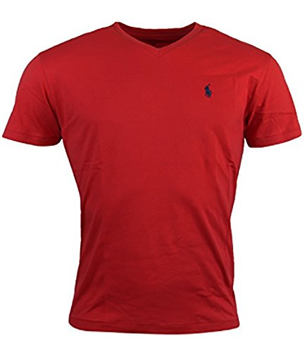 Polo Ralph Lauren Men's Classic Fit V-Neck T-Shirt (Medium, Red/Navy Pony)