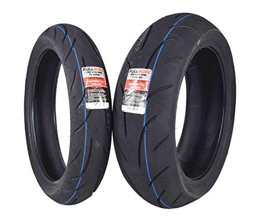Full Bore F2 Series 120/70ZR17 Front & 190/55ZR17 Rear Radial Motorcycle Sport Bike Tire Combo Set 120/70-17 190/55-17 (120/70ZR17 Front & 190/55ZR17 - Tire Motorcycle Combo