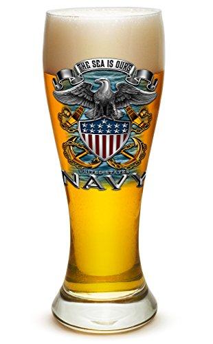 Pilsner United States Navy Gifts for Men or Women - US Navy American Soldier Beer Glassware - Full Eagle Print Barware Glasses (23 Oz) ()