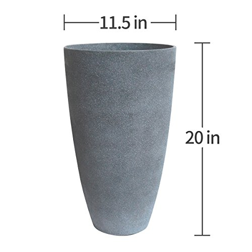 Tall Planters Set 2 Flower Pots, 20'' Each, Patio Deck Indoor Outdoor Garden Resin Planters, Gray by LA JOLIE MUSE (Image #4)
