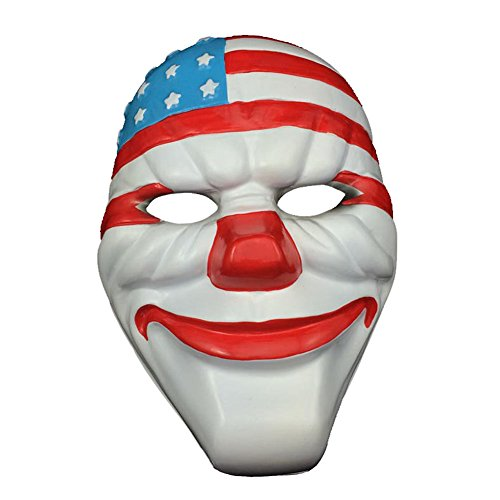 Collectible Halloween Masks (MMTTAO Halloween Masquerade USA Flag Mask Plastic Novelty Cosplay Joker Clown American Flag Mask Fancy Costume Props Decorations)