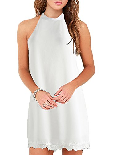 - Fantaist Women's Halter Neck Sleeveless Lace Trim Loose Shift Mini Casual Dress (S, FT610-White)