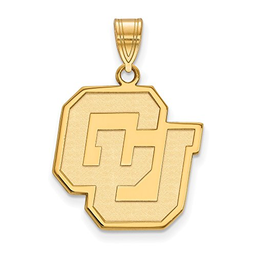 14k Yellow Gold LogoArt Official Licensed Collegiate University of Colorado (UC) Large Pendant by Logo Art