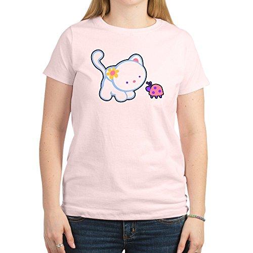Royal Lion Women's Light T-Shirt Kitty Saying Hello to Ladybug - Light Pink, Small