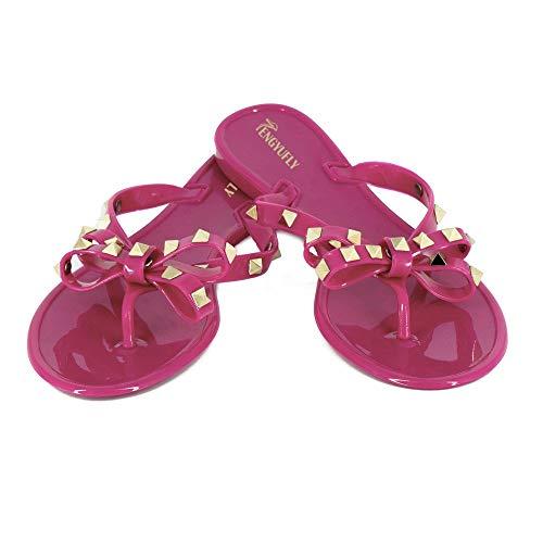 TENGYUFLY Womens Rivets Bowtie Flip Flops Jelly Thong Sandal Rubber Flat Summer Beach Rain Shoes Rose