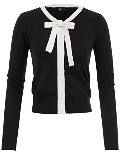 - KANCY KOLE Juniors Crew Neck Sweater with Bow-Knot(Black,L)