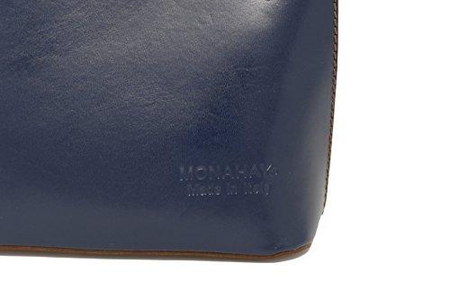 Made Cross Hand or Shoulder Dark Bag Leather MONAHAY Handbag brown Bag Italian Micro Blue Body Small tqYnTU