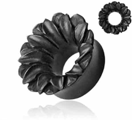 Lobal Domination PAIR of Lotus Flower Organic Areng Wood Tunnels Ear Plugs - Gauge Body Jewelry