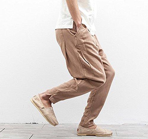 Lungo Lino Confortevole Uomo In Casual Hibasing Harem Traspirante Marrone Cinese Stile Da Pantaloni qxtcngwzAP