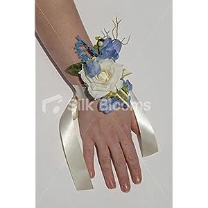 Ivory Rose & Powder Blue Sweetpea Vintage Wedding Wrist Corsage 45