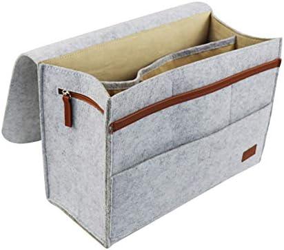 Zchui - Organizador de mesita de noche con 7 bolsillos para organizar la cama, bolsillo antideslizante o mandos a distancia, libros, tabletas, perfecto para cabinas o literas o sofás, gris claro: Amazon.es: