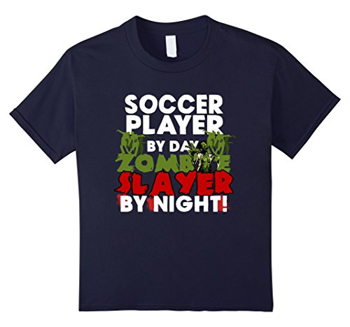 Kids Funny Halloween Tee Shirts Soccer Player Zombie Slayer Shirt 8 Navy