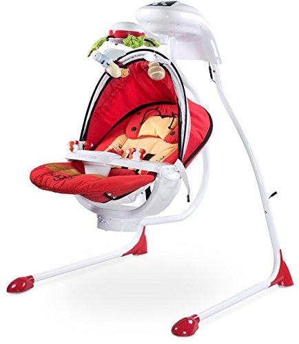 Caretero Bugies Red Babyschaukel mit Batterien oder Strom Betrieben bis 12 kg, rot