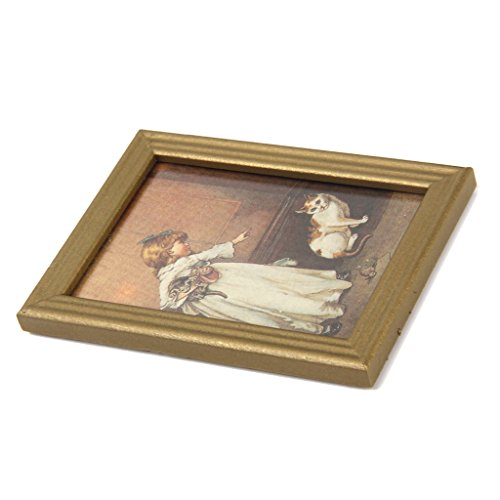 Dollhouse Miniature Frame Girl and Cat Mural Wall Painting 1:12 by Generic