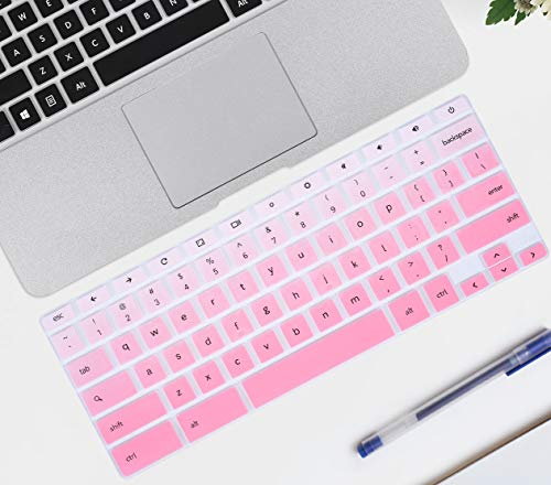 iKammo Keyboard Cover Skin Compatible Samsung Chromebook 3 XE500C13,Samsung Chromebook 11.6(2018/2017 Newest),12.2 Samsung Chromebook Plus V2 2-in-1 XE520QAB,Samsung Chromebook 2 XE500C12(Ombre Pink)