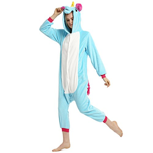 Cosplay Costumes Easy (Adult Unisex Flannel Unicorn Animal Onesies Pajamas Kigurumi OnePiece Cosplay Costume (S, Blue))