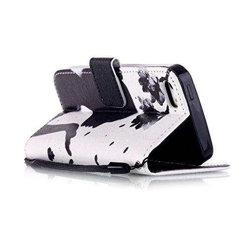 Pour iphone 5 5S Portefeuille Coque Etui, Ougger(TM) Facile Fille [Dragonne] Durable PU Cuir Bourse Flip Rabat Fente Carte Stand Magnétique Fermeture Protecteur Housse Coque Etui