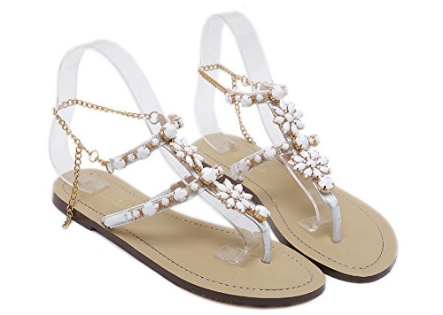 Sandals Flat Sandals Bling Women Rhinestone White Summer Sandals for Bohemia Charming for Huateng Beach Rxw1zv6Xqq