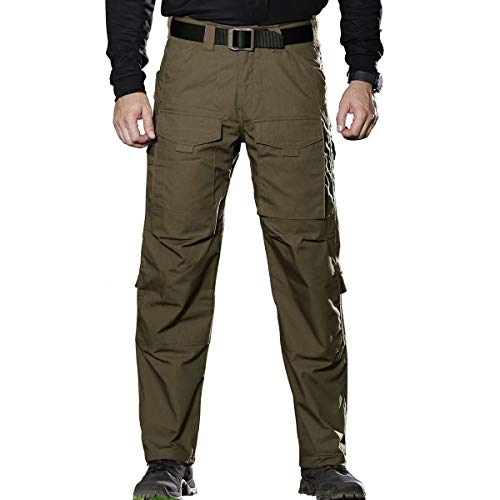 FREE SOLDIER Outdoor Men Multi Pockets Tactical Pants Cargo Pants (Dark Green, 38W/32.5L)