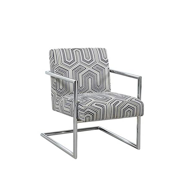Scott Living Geometric Pattern Accent Chair Bluestone and Chrome