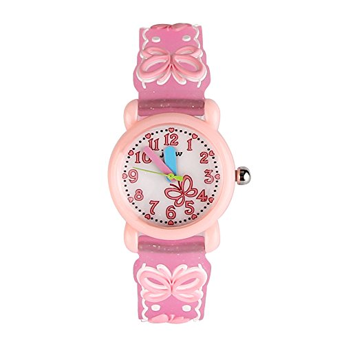 Jian Ya Na Children's Watch Waterproof 3D Cute Cartoon Design Round Dial Silicone Rubber Jelly Color Watch Band Quartz Wristwatch for Little Xmas Girls Boy Kids Children (Pink (Butterfly)) - Pink Quartz Jelly