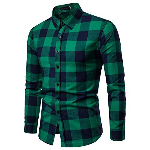 Stoota Men Fashion Shirt,Business Leisure Long-Sleeved Lattice Print Top Blouse Green