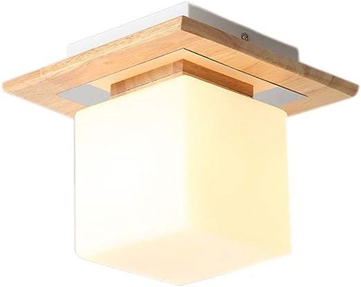 Moddeny Pequeño cubo de madera semi rasante del montaje del techo colgante Linterna japonesa restaurante Lámpara techo de cristal semi al ras con pantalla E27 Decoración cocina vestíbulo de madera luz: Amazon.es: