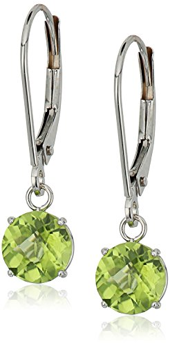 Round Checkerboard Gemstone Leverback Earrings