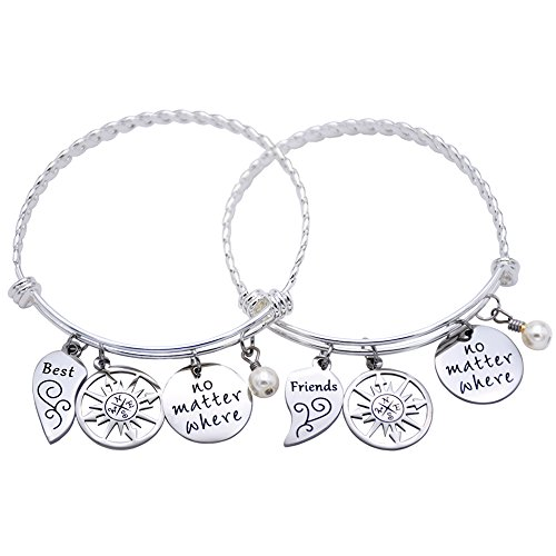 Double Frame Ring (O.RIYA Best Friends No Matter Where Compass Necklaces Bracelet Set Heart , Best Friend Necklaces 2 Piece for Teens Half Broken Heart Necklace Bracelet,Two Piece Double Necklace)
