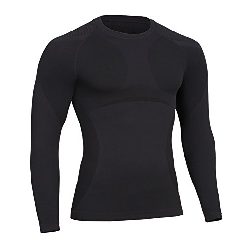 Prettywell Men's Body Shaper Quick Dry Corset Sports long Sleeve shirts MA01 Black-L
