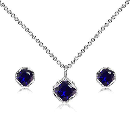 Sterling Silver Created Blue Sapphire 6mm Round Solitaire Stud Earrings & Pendant Necklace Set