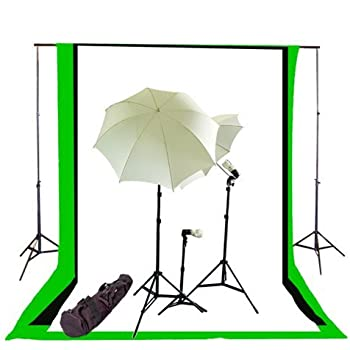 CowboyStudio Complete Photography / Video Studio Triple Lighting Light Kit, 10' x 12' Background Support System and Black, White and Green Muslin Backdrops