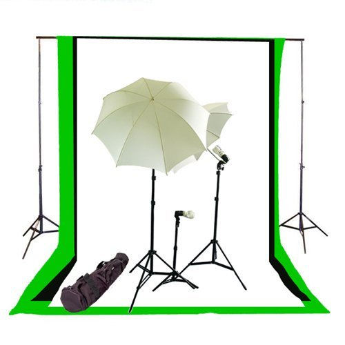 CowboyStudio Complete Photography / Video Studio Triple Lighting Light Kit, 10' x 12' Background Support System and Black, White and Green Muslin Backdrops by CowboyStudio