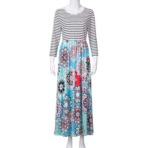 aliveGOT Women's Striped Floral Print Long Sleeve Tie Waist Maxi Dress with Pockets (Light Blue, L) by aliveGOT (Image #4)